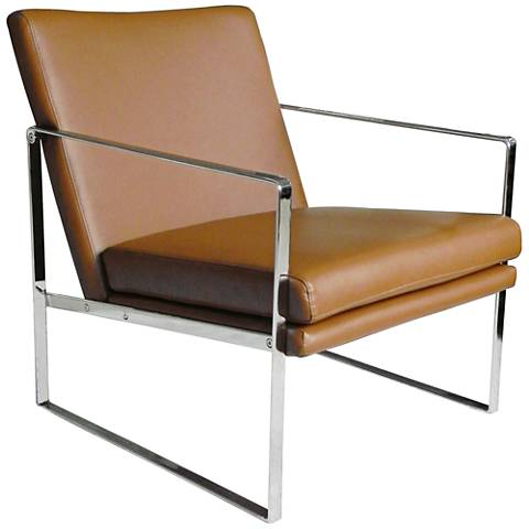 Lennox Tan Faux Leather Modernist Square Armchair