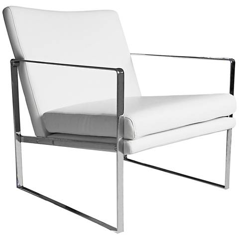Lennox White Faux Leather Modernist Square Armchair