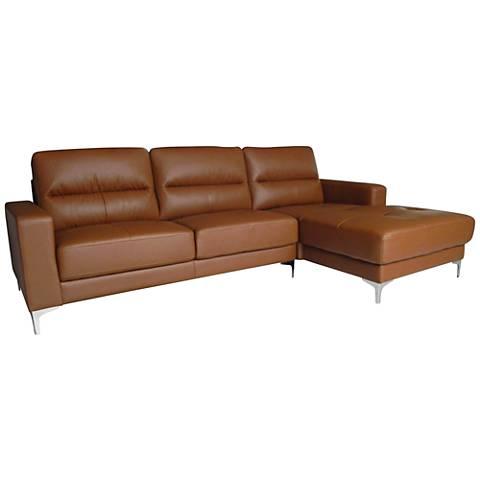 Memphis Tan Faux Leather 2-Piece Sectional Set