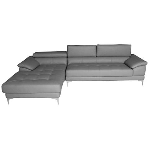 Monroe Gray Faux Leather 2-Piece Oversize Sectional Set