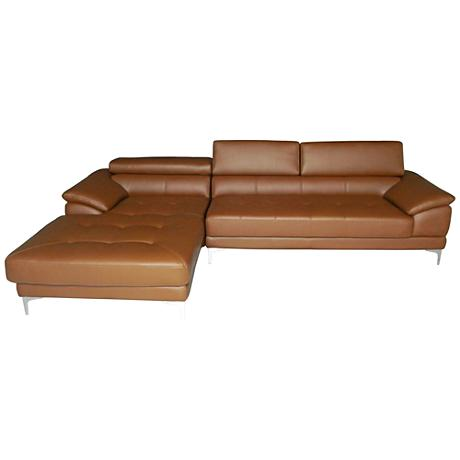 Monroe Tan Faux Leather 2-Piece Oversize Sectional Set