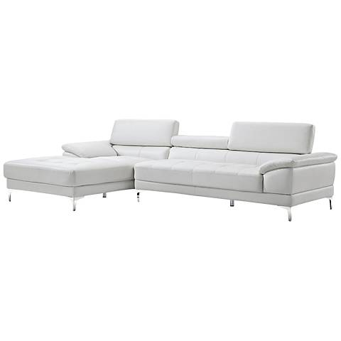 Monroe White Faux Leather 2-Piece Oversize Sectional Set