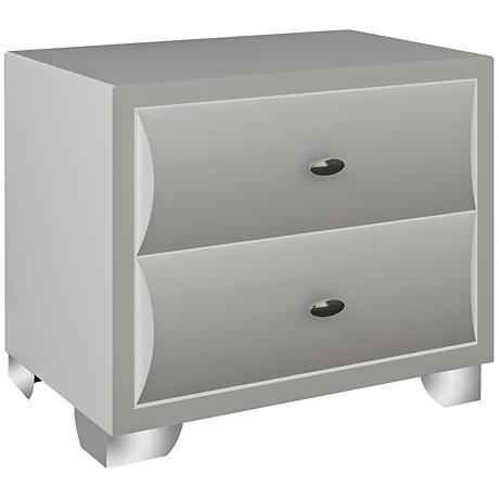 Alexander High-Gloss White 2-Drawer Nightstand