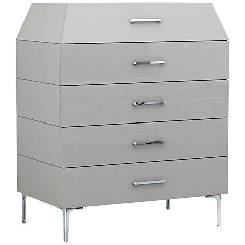 Adelina High-Gloss Taupe Modern 5-Drawer Chest