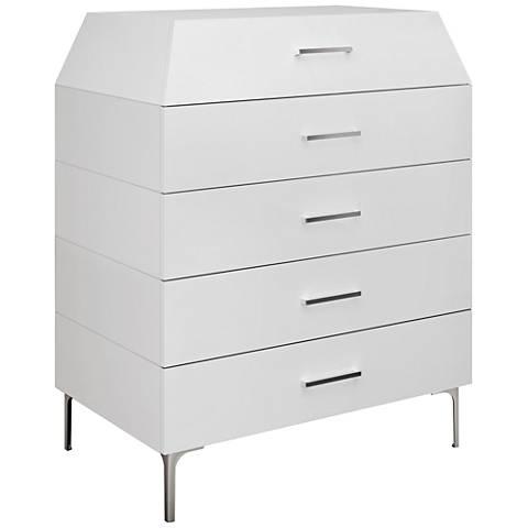 Adelina High-Gloss White Modern 5-Drawer Chest