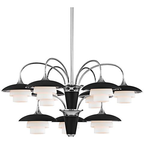 "Barron 30 3/4"" Wide Polished Nickel and Black Chandelier"