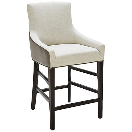 """Vincent 26"""" Dove Gray Marble and Espresso Counter Stool"""