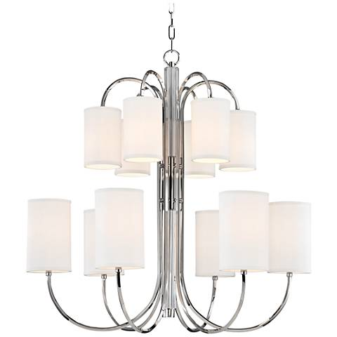 "Hudson Valley Junius 34 3/4"" Wide Polished Nickel Chandelier"