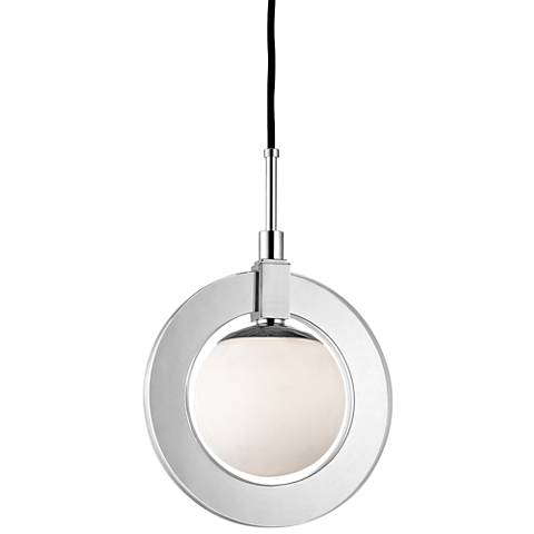 """Caswell 12"""" Wide Polished Nickel LED Mini Pendant"""