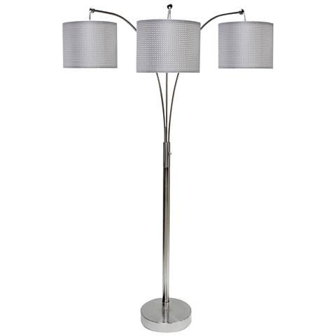 Emjay Brushed Steel 3-Light Modern Arc Floor Lamp