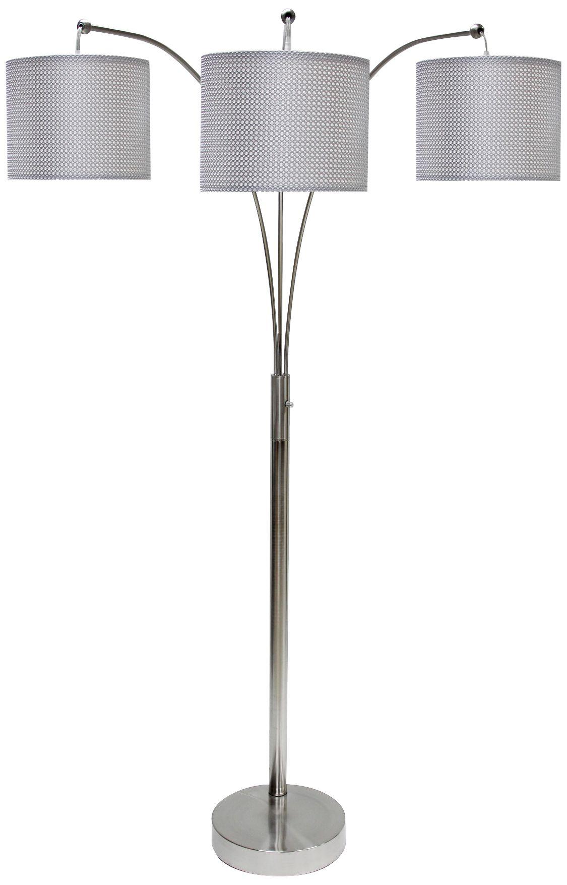 emjay brushed steel 3light modern arc floor lamp