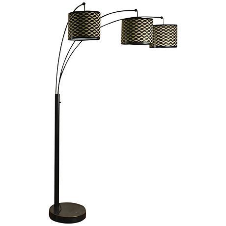 espresso steel 3 light modern arc floor lamp 9p778 lamps plus. Black Bedroom Furniture Sets. Home Design Ideas