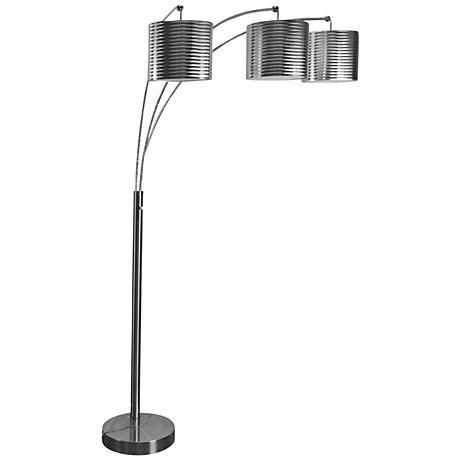 Raxton Charcoal Steel 3-Light Modern Arc Floor Lamp