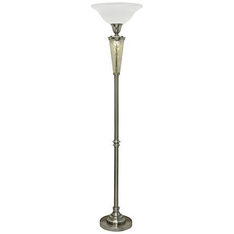 Isabel Brushed Steel Torchiere Floor Lamp with Nightlight