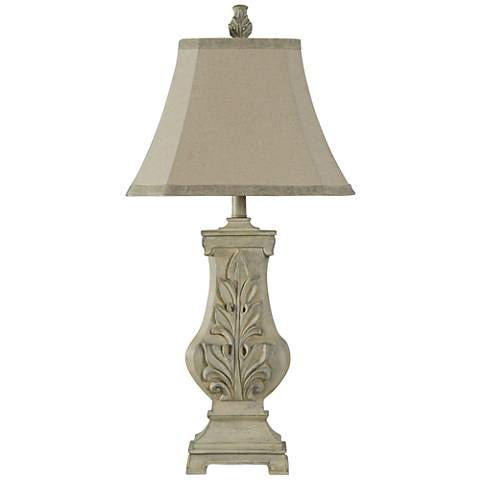 Acanthus Grotto Weathered Cream Sculpted Table Lamp