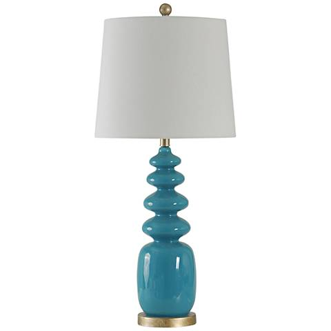 Melody Teal Blue Stacked Oval Steel Table Lamp