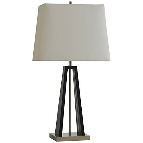 Diebekorn Black Pencil-Top Table Lamp with LED Accent
