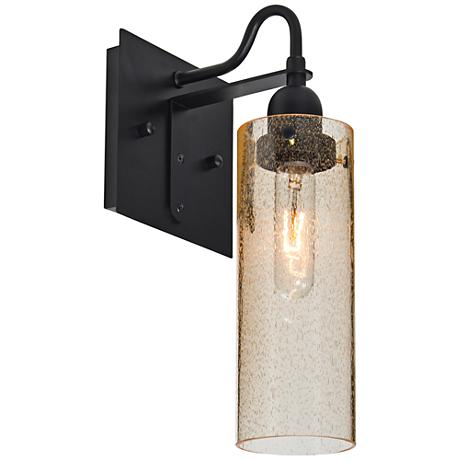 "Besa Juni 14 1/4""H Black Gold Bubble Wall Sconce"
