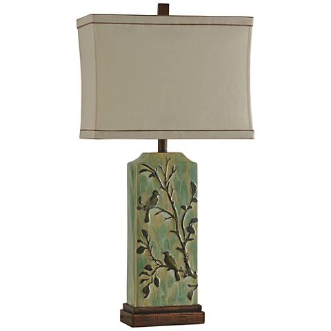 Parkway Creamy Green Aviary Tablet Column Table Lamp