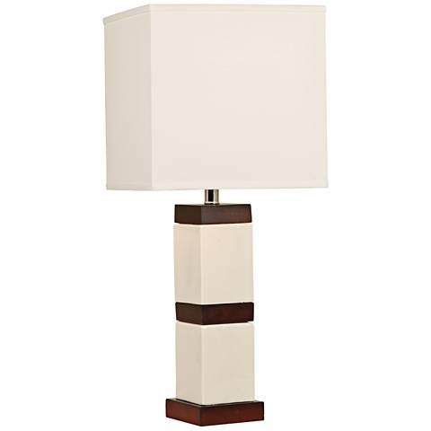 Block-Stripe Tech White Ceramic Column Table Lamp