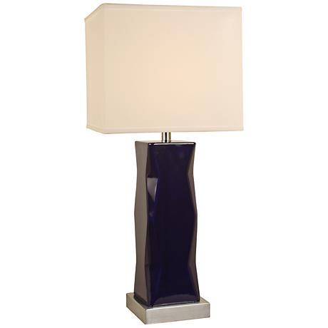 dark blue ceramic square column table lamp 9p831 lamps plus. Black Bedroom Furniture Sets. Home Design Ideas