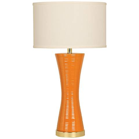 Sunshine Hourglass Vivid Orange Ceramic Table Lamp
