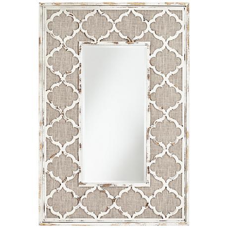 "Blende Quatrefoil Antique Silver 31 1/2""x47 1/4"" Wall Mirror"