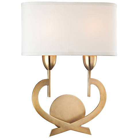 """Hudson Valley Downing 16 1/2"""" High Aged Brass Wall Sconce"""