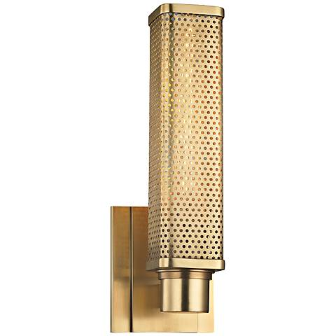 """Hudson Valley Gibbs 12 1/2"""" High Aged Brass Wall Sconce"""