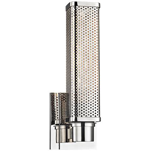"""Hudson Valley Gibbs 12 1/2"""" High Polished Nickel Wall Sconce"""