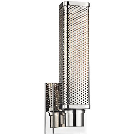 "Hudson Valley Gibbs 12 1/2"" High Polished Nickel Wall Sconce"