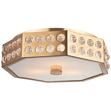 "Hudson Valley Hansen 15 1/2"" Wide Aged Brass Ceiling Light"