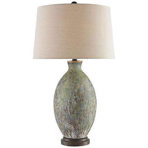 Currey and Company Remi Green Drip-Bronze Table Lamp