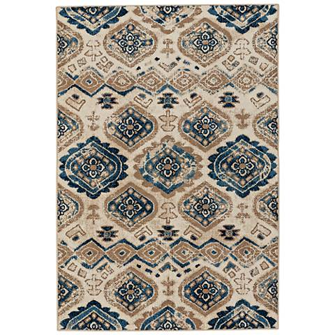 Capel Bethel-Diamond Taupe and Blue Indoor/Outdoor Area Rug
