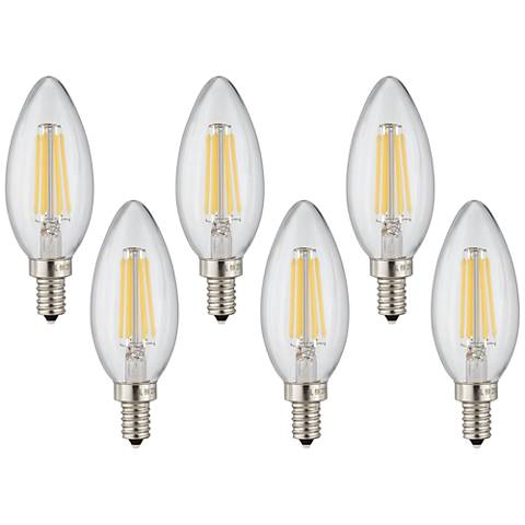 60W Equivalent Clear 6W LED Dimmable Candelabra 6-Pack