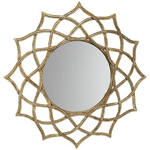 """Brighton Sunburst 32"""" Round Gold Wall Mirror"""