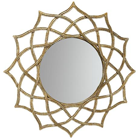 "Brighton Sunburst 32"" Round Gold Wall Mirror"
