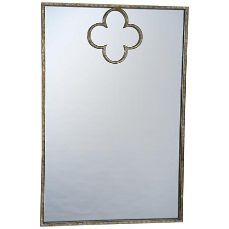 "Elima Gold 24"" x 26"" Quatrefoil Rectangle Wall Mirror"