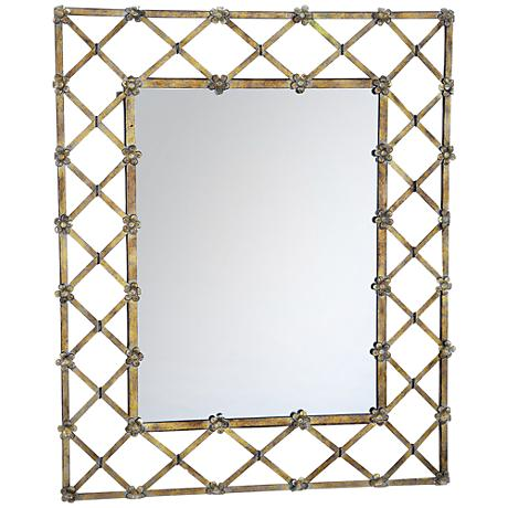 """Garden Trellis 28 1/2"""" x 34 1/4"""" Gold Wall Mirror"""