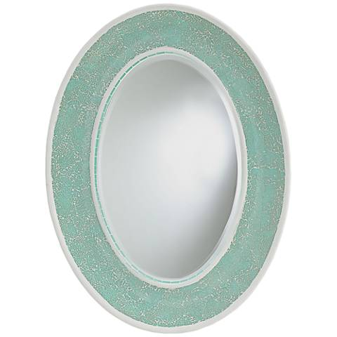 "Currey and Company Eos Aqua 23"" x 31"" Oval Wall Mirror"