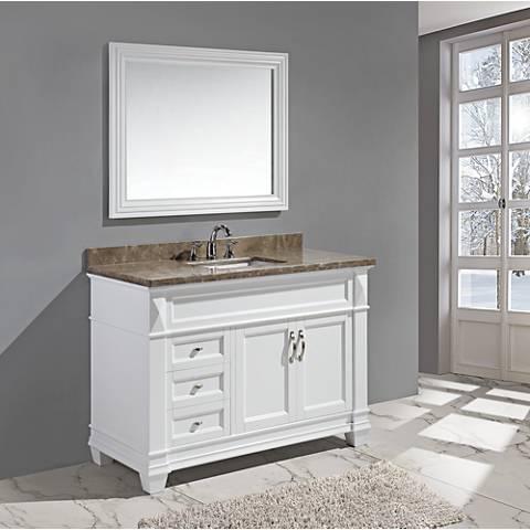 "Hudson 48"" Marble White Single Sink Vanity Set"