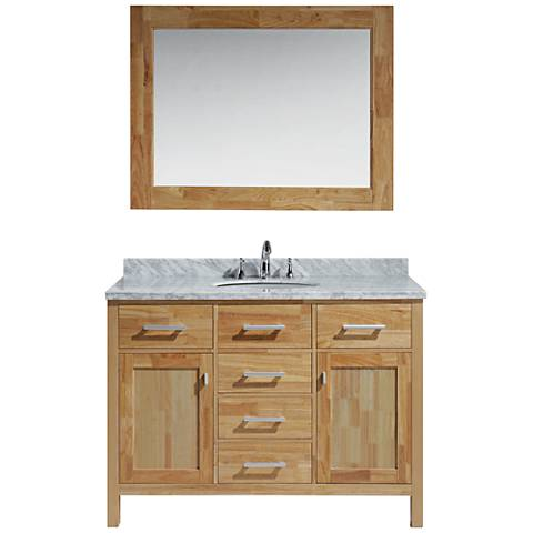 "London 48"" Carrara Marble Honey Oak Single Sink Vanity Set"