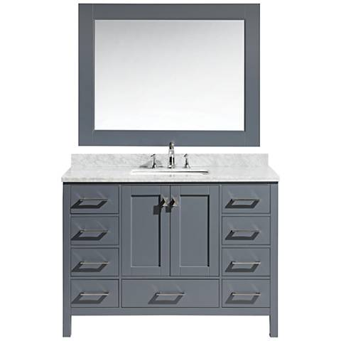 "London 48"" Carrara Marble Gray Single Sink Vanity Set"