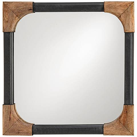 "Currey and Company Nash Black Wood 25"" Square Wall Mirror"