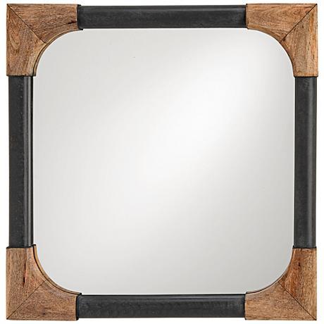 "Currey and Company Nash Black Wood 25"" Square Wall Mirror"