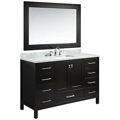 "London 54"" Carrara Marble Espresso Single Sink Vanity Set"