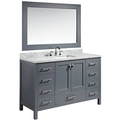 "London 54"" Carrara Marble Gray Single Sink Vanity Set"