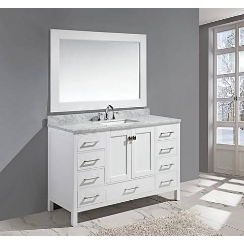 "London 54"" Carrara Marble White Single Sink Vanity Set"