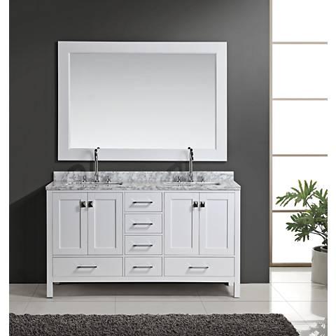 "London 60"" Carrara Marble White Double Sink Vanity Set"