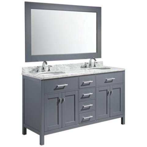 London 61 Carrara Marble Gray Double Sink Vanity Set 9R280 Lamps Plus